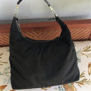 Gucci Bags - GUCCI Nylon Canvas Leather Shoulder Hobo Bag